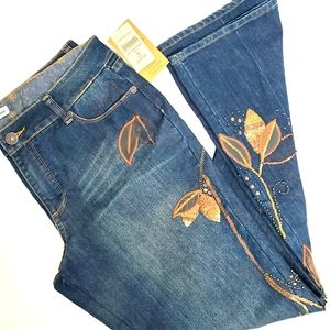 Coldwater Creek Beaded Design City Jeans size 12